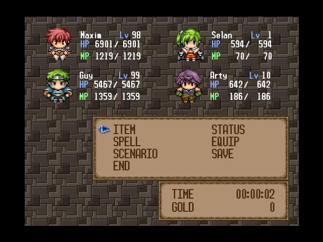 TDS Lufia II - Rise of the Sinistrals Menu - RPG Maker VX - Custom